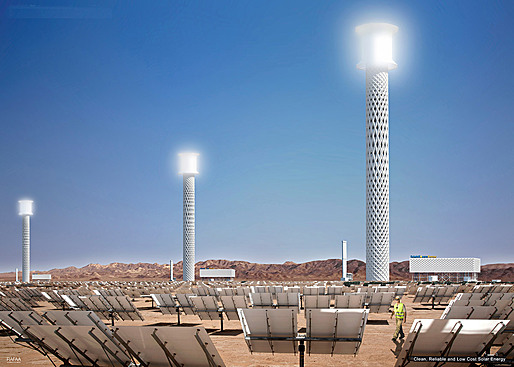 Three water towers of Ivanpah Solar Electric Generating System illumunated by concentrated sunlight from heliostat reflectors. Graphic: RAFAA.